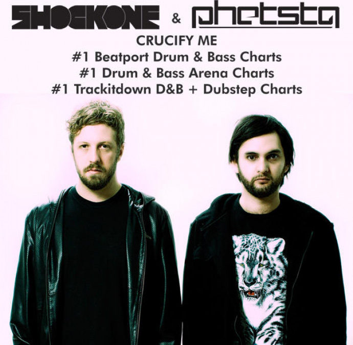 SHOCKONE & PHETSTA – CRUCIFY ME #1 ON BEATPORT, DRUM & BASS ARENA, AND TRACKITDOWN